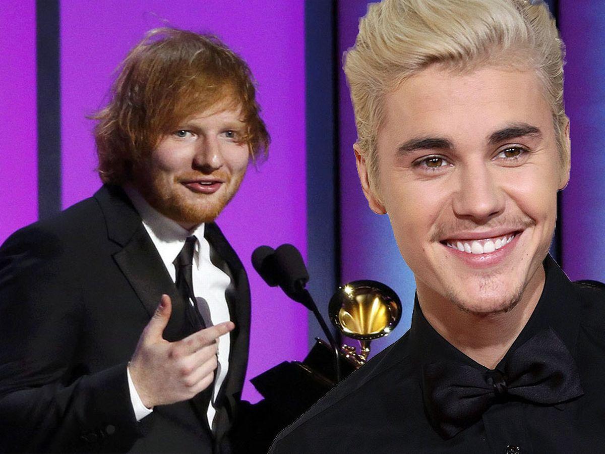 Ed Sheeran, Justin Bieber posing for the camera